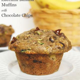 Zucchini Banana Muffins with Chocolate Chips.
