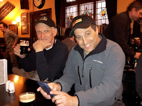 Photo: Ed Hamrick and Dan Rosen enjoy one of their first samples of real ale in Manchester.