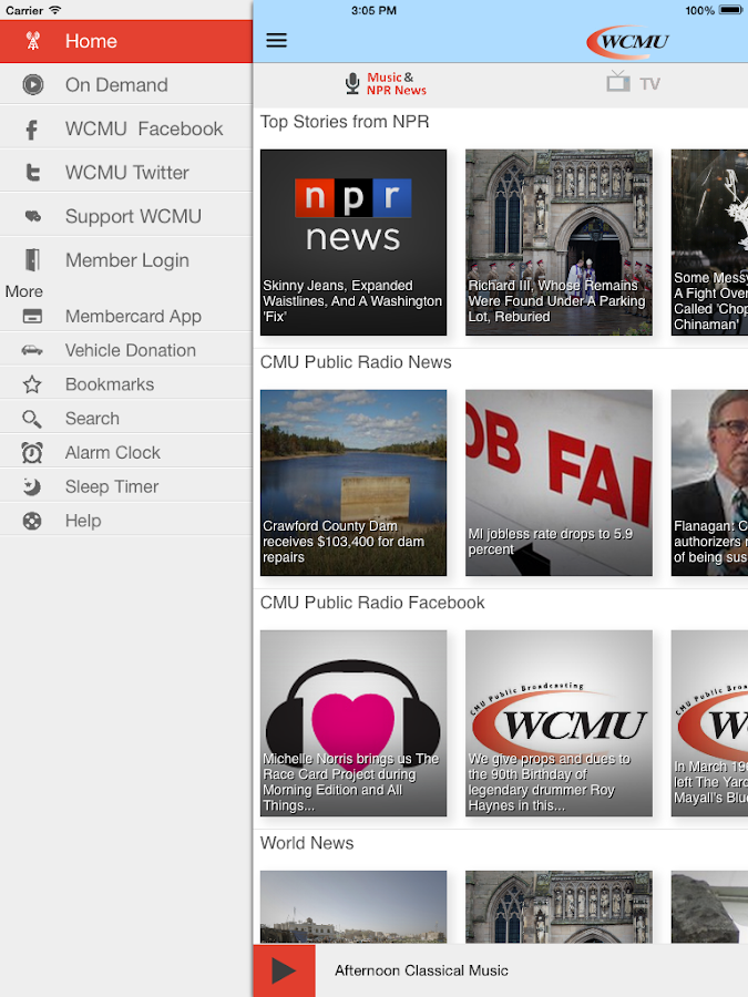 WCMU Public Radio App- screenshot