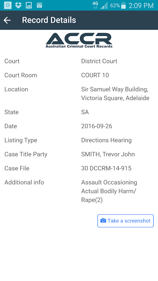 Aust. Criminal Court Records- screenshot