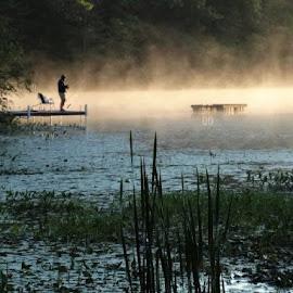 Fisherman at Dawn by Holly Hatcher - Uncategorized All Uncategorized ( #lakelife, #morethanonereasontogetupatdawn, #wisconsinmornings, #fishingatdawn, #dawnisforlovers )