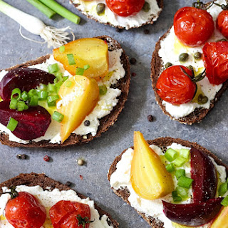 Open Faced Sandwiches With Labneh, Tomatoes And Beets.