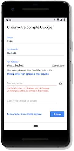Écran de définition du mot de passe pour un compte Google sur mobile