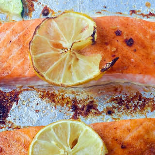 Sheet Pan Baked Jamaican Jerk Salmon & Zucchini.
