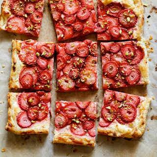 Strawberry and Pistachio Tart.