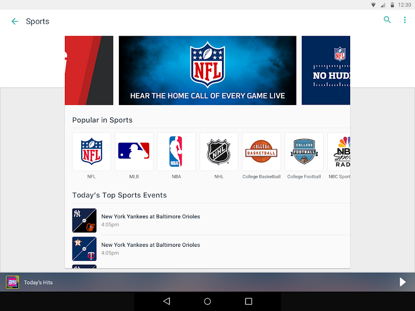 TuneIn: Stream NFL Radio, Music, Sports & Podcasts Android 12