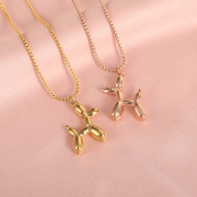 Factory Direct Sales Korean Style Titanium Steel Necklace Female Balloon Dog Puppy Creative Personalized Pendant Non-Fading Choker Necklace