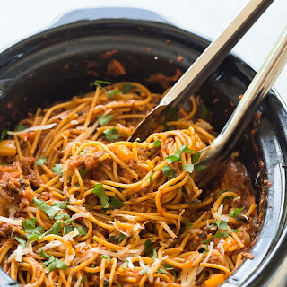 Healthier Slow Cooker Spaghetti and Meat Sauce + VIDEO.
