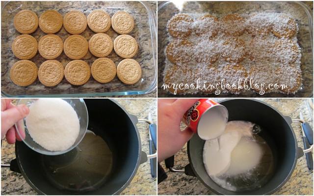 Бисквитена торта с кокосово-шоколадов крем