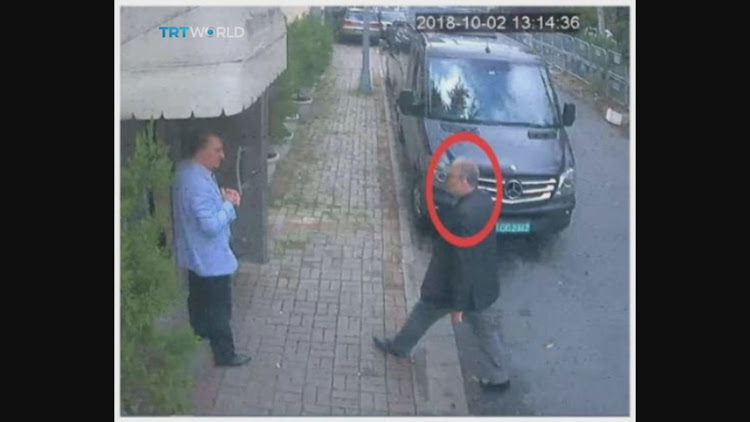 A still image taken from CCTV video and obtained by TRT World claims to show Saudi journalist Jamal Khashoggi, highlighted in a red circle by the source, as walks into the Saudi Arabia's Consulate in Istanbul, Turkey, on October 2 2018. Picture: TRT WORLD/HANDOUT VIA REUTERS
