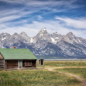 The Old Homestead by Tracy Lynn Hart - Landscapes Mountains & Hills ( history, home, mountains, seasons, snow, wyoming, view, mormon row, house, travel, place )