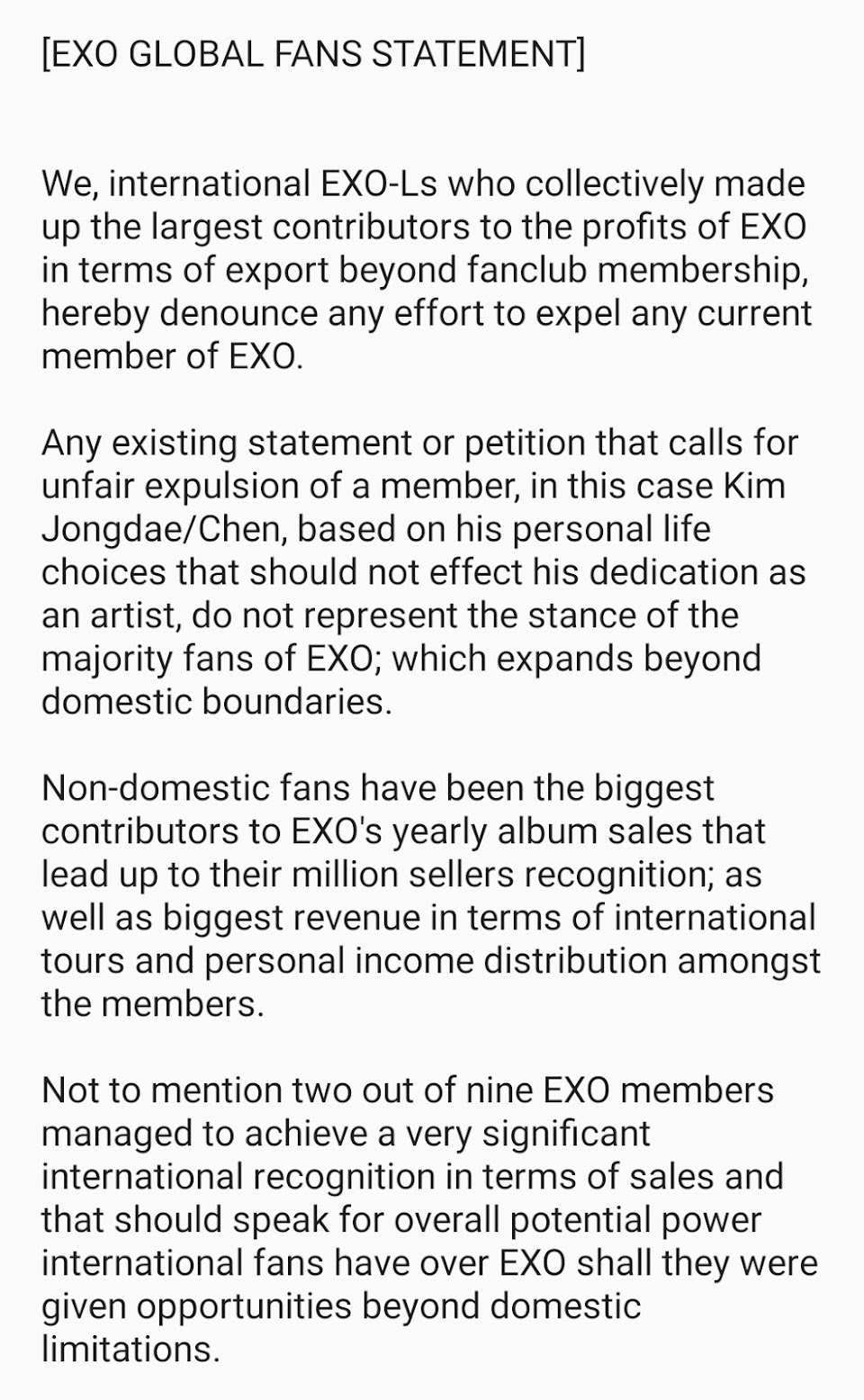 exo global statement 1
