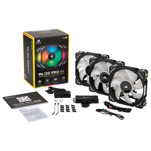 Quạt case Corsair ML120 RGB (3 fan + Lighting Node PRO) (CO-9050076-WW)