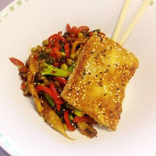 Crispy Sesame Tofu with Mixed Veg.