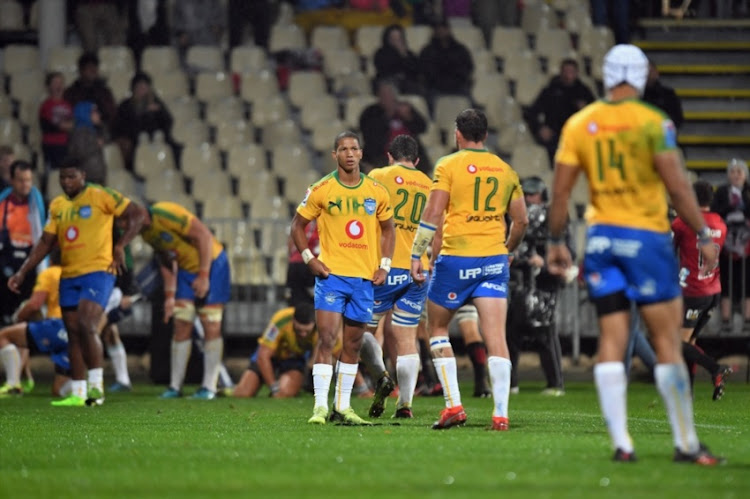 Manie Libbok of the Bulls (C) and his team mates react during the round six Super Rugby match between the Crusaders and the Bulls on March 23, 2018 in Christchurch, New Zealand.