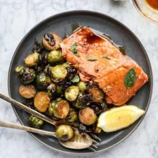 Honey Garlic Salmon with Brussels.