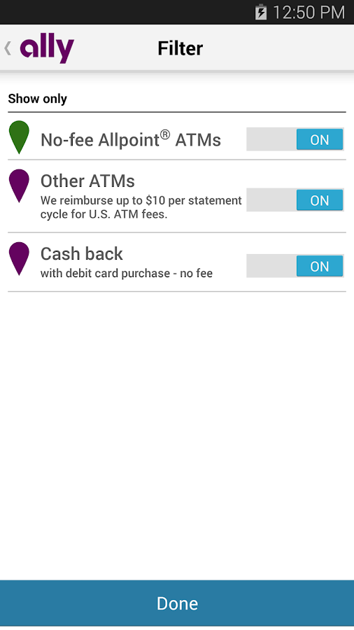 Ally's ATM & Cash Locator- screenshot