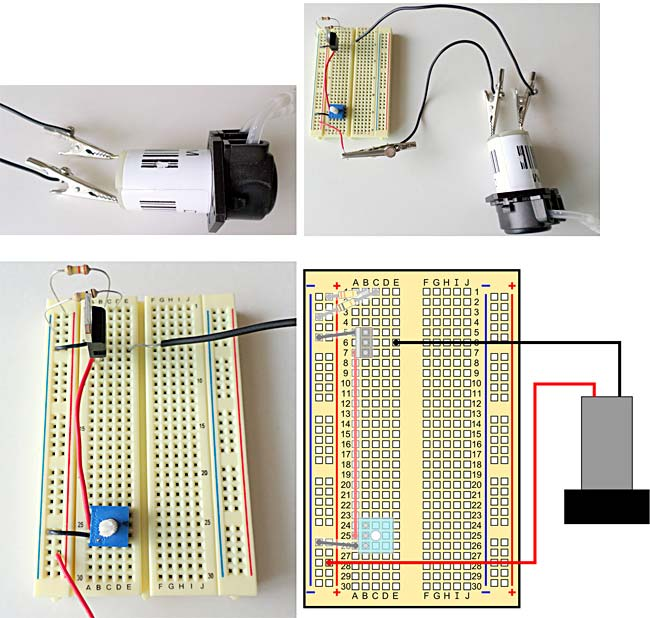 A breadboard showing a pump being connected.