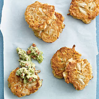 Corn and Crab Fritters with Guacamole.