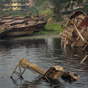 Forgotten Beauty by Kaniz Khan - Transportation Boats ( water, broken, old, transport, ship, vehicle, boat, river,  )