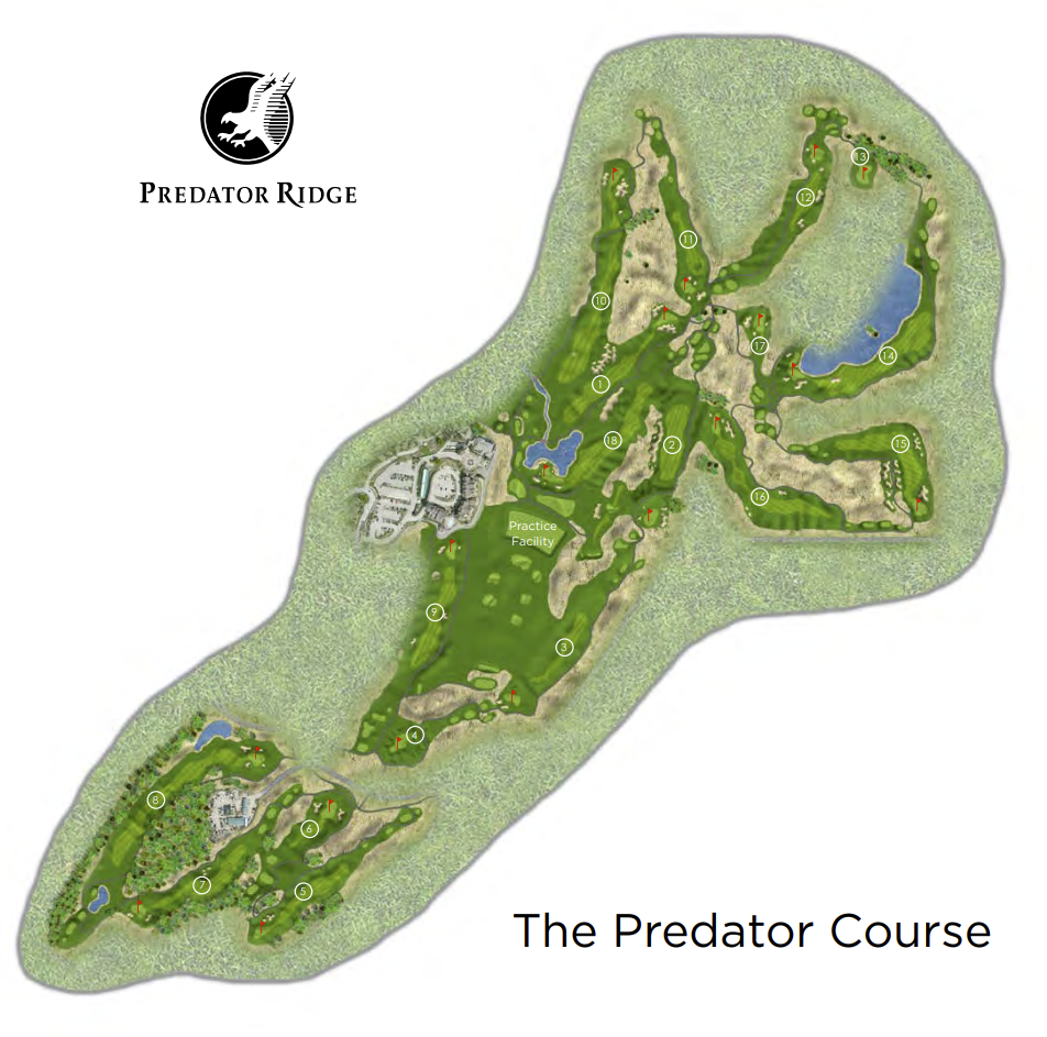 An illustrated map of The Predator Course.