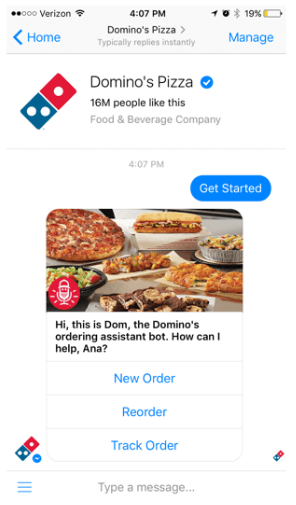 Dominos Chatbot Example