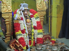 Photo: mAmunigaL decorated with emperumAnAr's parivattam on the crown