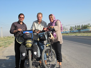 Photo: Day 153 - Saying Goodbye to Saeid in a Layby on Outskirts of Mashhad