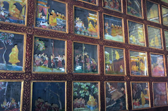 Photo: 100-year old glass paintings of the Jataka tales (of the previous lives of the Buddha) from Myanmar in the chapel of Wat Jong Klang