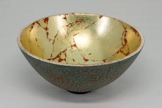 "Photo: Ken Lobo 7"" x 4"" bowl [poplar, paint, gold leaf]"