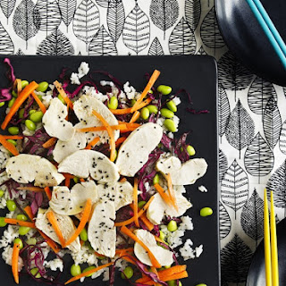 Sesame Chicken, Pickled Red Cabbage and Sushi Rice Salad.