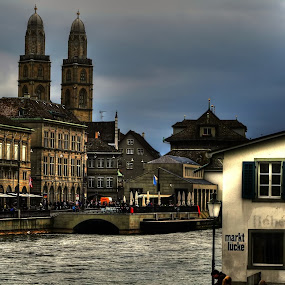 zurich by Marco Caciolli - City,  Street & Park  Historic Districts ( svizzera, zurich, church, historical, city, river )