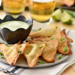 Queso Fresco Avocado Won Tons with Cilantro Lime Crema