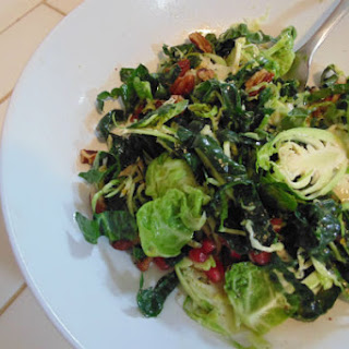 Kale & Brussels Sprout Salad with Pomegranates