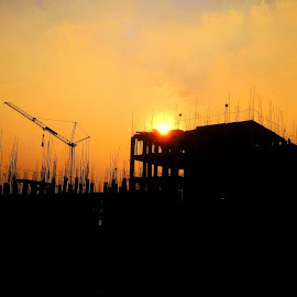 sunset by Mahesh Ponnam - Buildings & Architecture Other Exteriors ( red, red sky, sunset, construction, evening )
