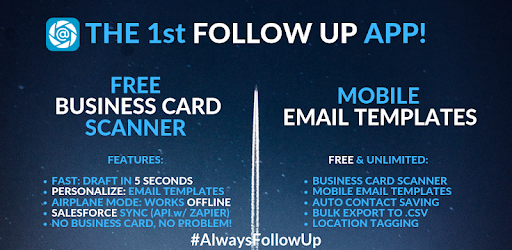 Free Business Card Scanner + Email Templates = Follow Up Email & Save Contact