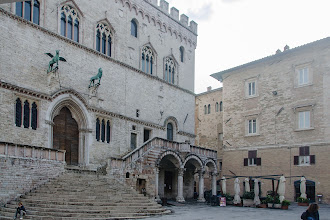 Photo: Northern facade of the Palazzo dei Priori; the balcony above the elegant loggia was used to make public announcements.