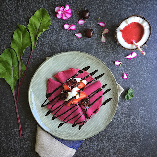 Beet Crepes with Whipped Goat Cheese & Balsamic Reduction (Gluten-Free)