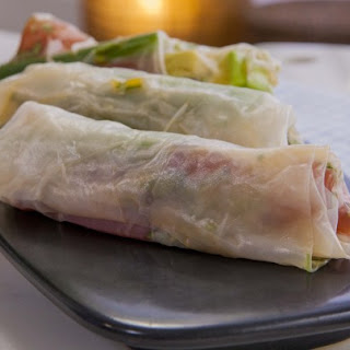 Raw Spicy Tuna Rice Paper Roll.