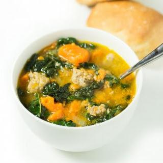 Sausage & Sweet Potato Soup with Kale.