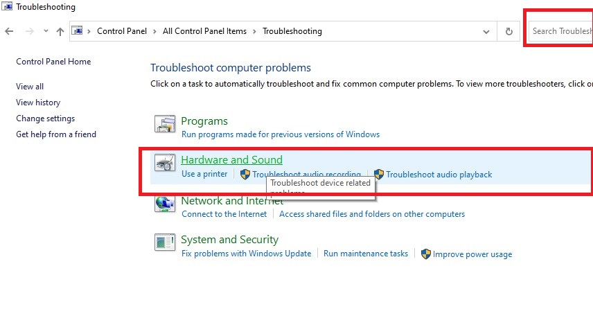 hardware and sound troubleshoot in windows 10
