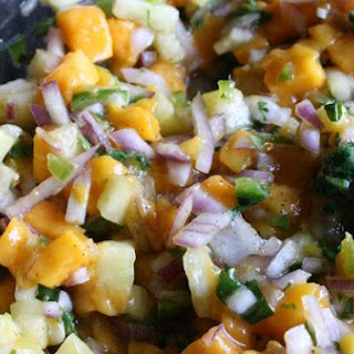 Grilled Salmon With Mango-Pineapple Salsa.