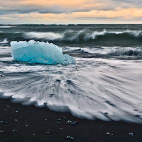 Jokulsarlon (Island) by Evžen Takač - Landscapes Beaches ( glacier, jokulsarlon, sunset, sea, pebbles, travel, beach, coast, island )