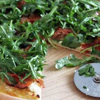 Goat Cheese & Prosciutto Pizza with a Fig Jam Sauce and Arugula Salad