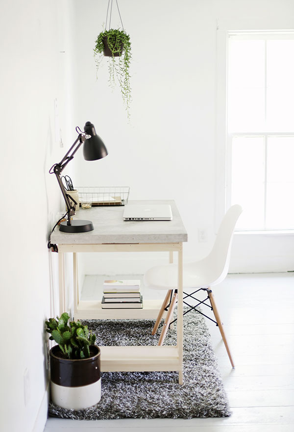 Planos de escritorio para computadora: escritorio para bricolaje con plan de escritorio de concreto