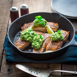 Easy Salmon With Avocado And Basil.