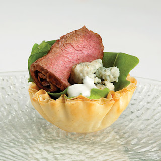 Steak and Blue in Mini Phyllo Shells.