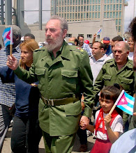 Photo: fidel castro marches in front of u.s. interets section, havana, cuba. Tracey Eaton photo.