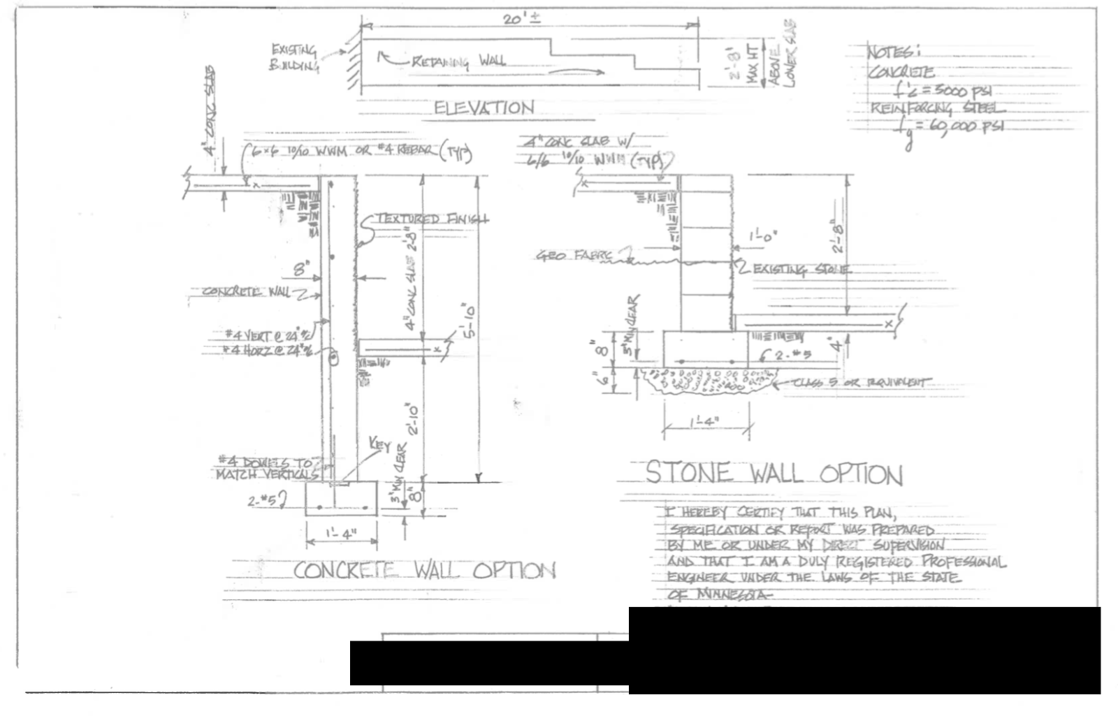 Example of structural engineering plan for retaining wall