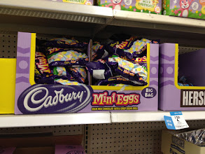 Photo: Cadbury mini eggs are my all-time favorite Easter candy, so including these in my basket was a must.  I couldn't find a price, or a smaller bag, but I decided to go for it anyway.  I looked around for a self-service price scanner, but no luck.  Oh well.  Turns out they were $5.99 for an 18 ounce bag.  It's a little more than I wanted to spend for the basket, but since I could 4 basket's worth out of that one bag, it didn't turn out to be such a bad deal after all.  That's just $2/basket.  Cool!